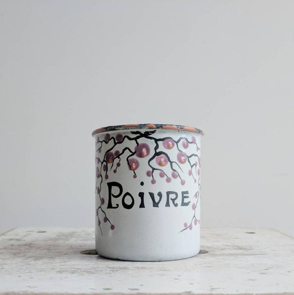 "Vintage French Enamelware Spice Jar, ""Poivre"" (Or Pepper)"