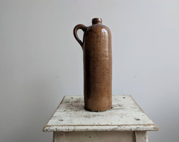 Vintage French Stoneware Vase For Rustic Kitchen