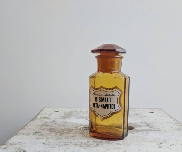 French Vintage Apothecary Jar in Amber Glass, for Vintage Pharmacy Decor