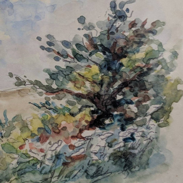 French Vintage Watercolor Painting of Flowers