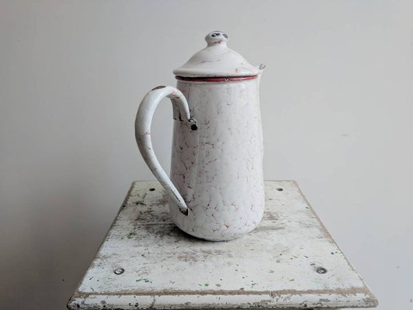 White Vintage French Enamelware Coffee Pot With Red Details, for Rustic Kitchen Decor