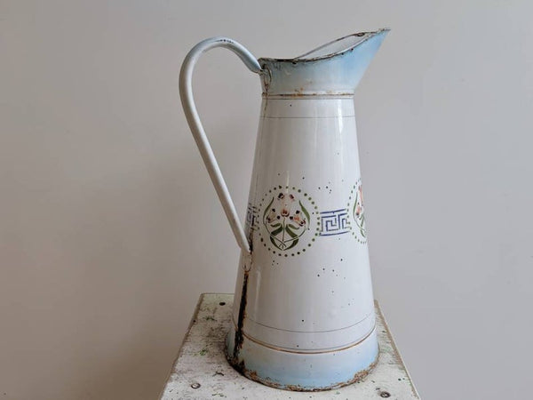 Large White and Blue Vintage French Enamelware