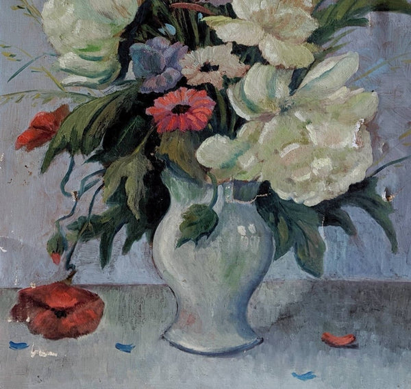 French Vintage Painting of Flowers