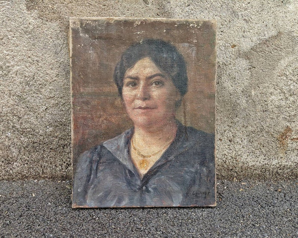 Vintage French Oil Portrait of Woman