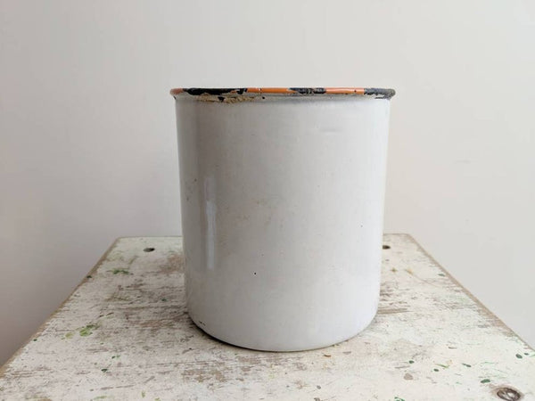 "Vintage French Sugar ""Sucre"" Enamelware Container With Hand-Done Design"