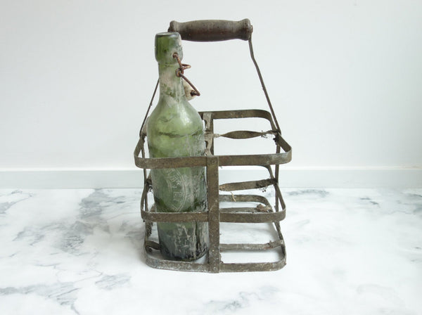 French Vintage Bottle Holder for Rustic Country Kitchen