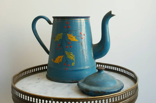Vintage Blue French Coffee Pot With Hand-Painted Flowers
