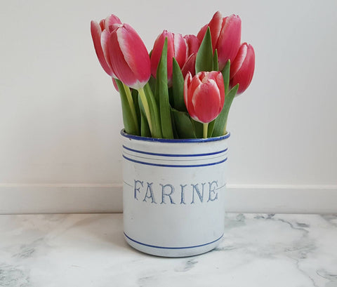 "Vintage French Enamelware Spice Jar, ""Farine"" (Or Flour)"