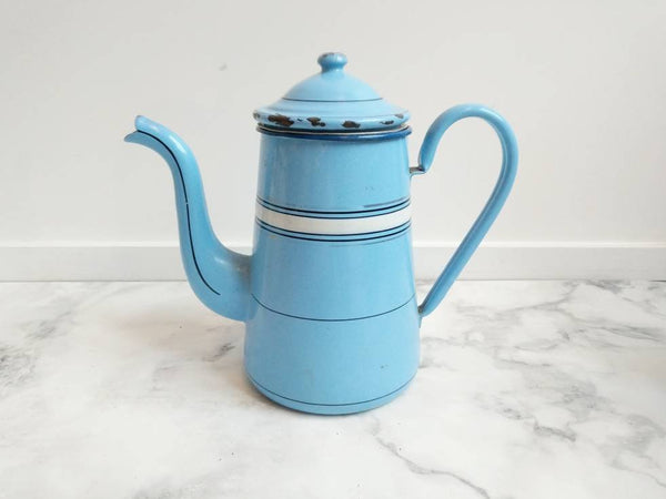Blue Vintage French Coffee Pot With White Stripes