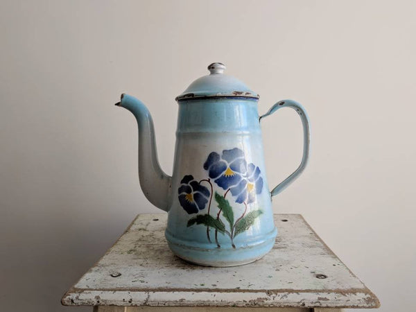 French Vintage Coffee Pot in Blue and White Enamelware