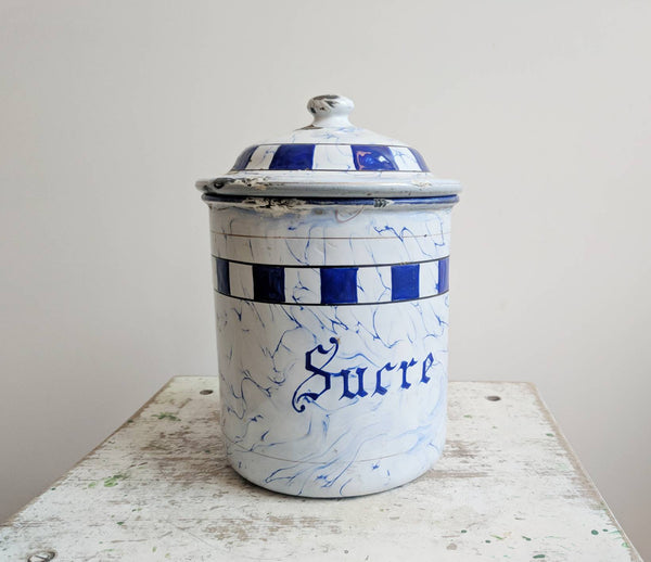"Vintage French Sugar ""Sucre"" Enamelware Container"