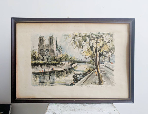 Print of Notre Dame and the Bridges of the Seine for Paris Wall Art