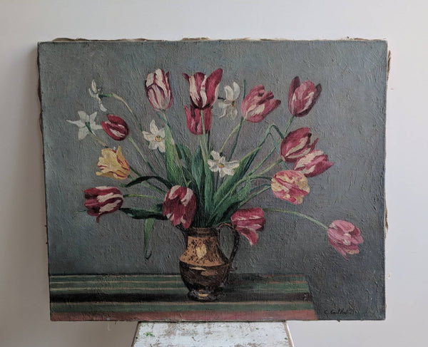 Gorgeous French Vintage Painting of Tulips - Antique Botanical Wall Art