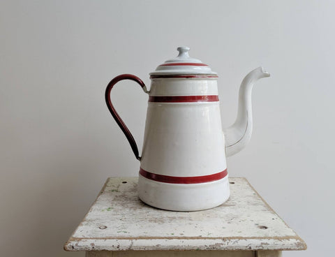 White Enamelware Pitcher With Red Stripes for Rustic French Kitchen