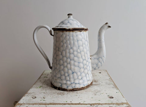 White Enamelware Coffee Pot With Honeycomb Pattern, for French Rustic Kitchen Decor