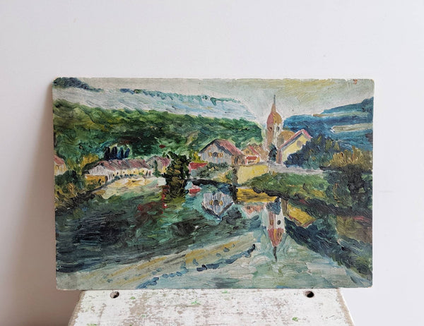 French Vintage Painting of River Landscape
