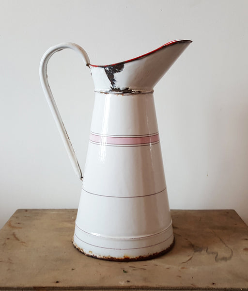 Large Vintage French Pitcher in Pink and White Enamelware-Faraway Places
