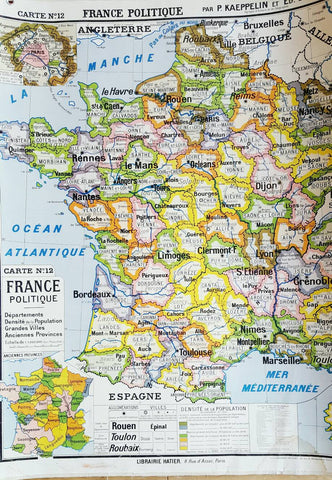 Oversized Vintage Map of France-Faraway Places