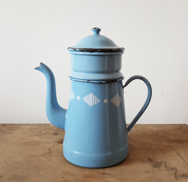Vintage Blue Coffee Pot With White Diamond Design-Faraway Places