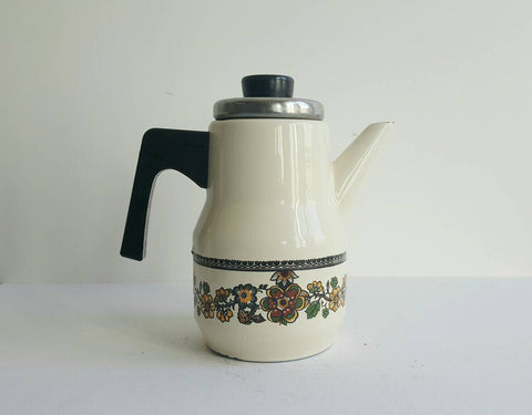 Vintage Enamelware Coffee Pot-Faraway Places