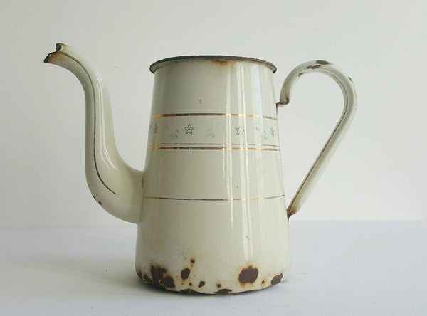 Vintage French Pitcher in White Enamelware With Gold Details-Faraway Places