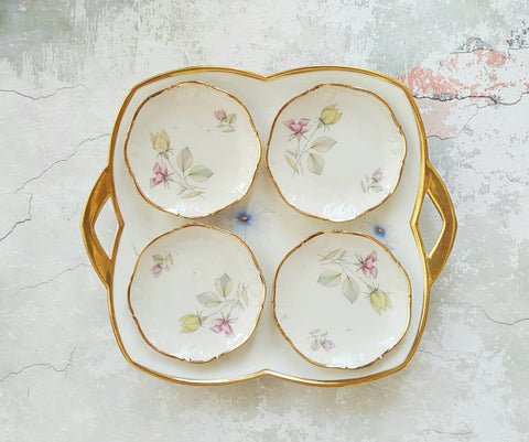 Vintage French Serving Set With Four Cake Plates-Faraway Places