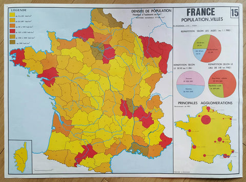 Vintage School Map of France-Faraway Places