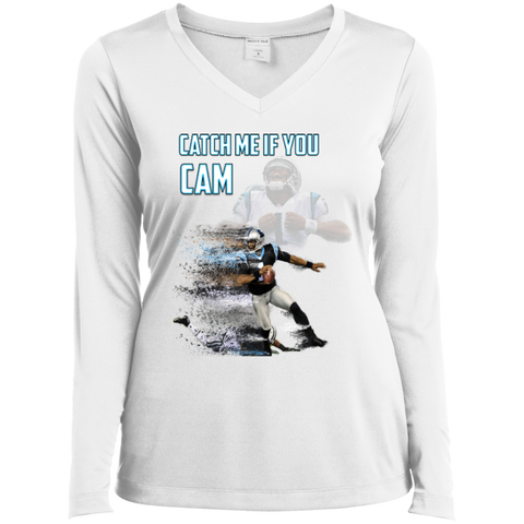 Cam Newton Panthers Custom Designed Fan Ladies Long Sleeve Performance Vneck Tee