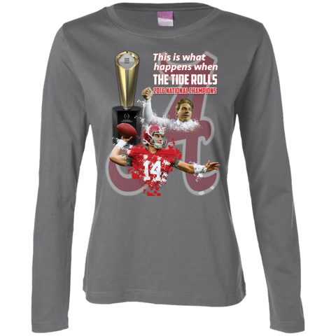 Alabama Crimson Tide 2016 National Champions Ladies Long Sleeve Cotton TShirt