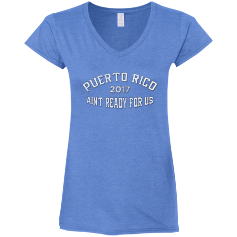 Puerto Rico Girls Trip 2017 v2 G64VL Gildan Ladies' Fitted Softstyle 4.5 oz V-Neck T-Shirt
