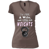 I'm A Mom A Wife and I Still Lift Weights Junior Vintage Wash V-neck Tee