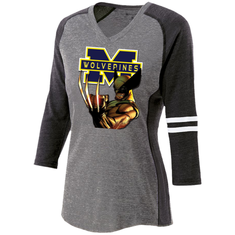 Michigan Wolverines II Custom Designed Ladies' Vintage V-neck Shirt