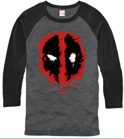Deadpool Splatter Icon Mens 3/4 Sleeve T-Shirt