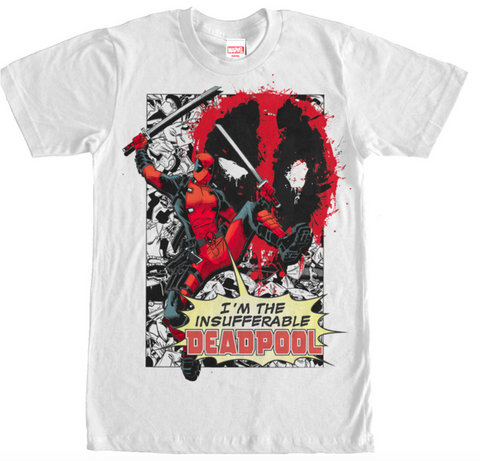 Deadpool Insufferable Mens WHITE T-Shirt