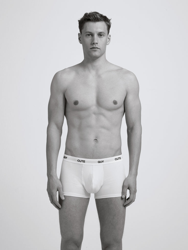 Cute Guy Boxer Brief/ White