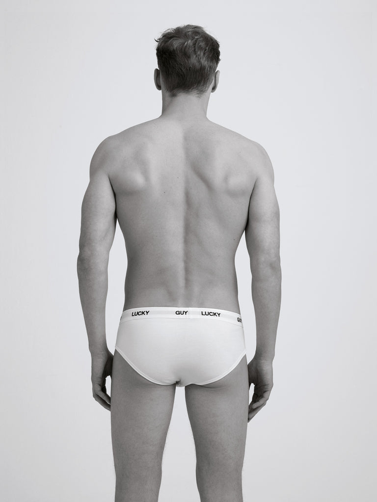 Lucky Guy Slim Brief/ Twin Pack/ White