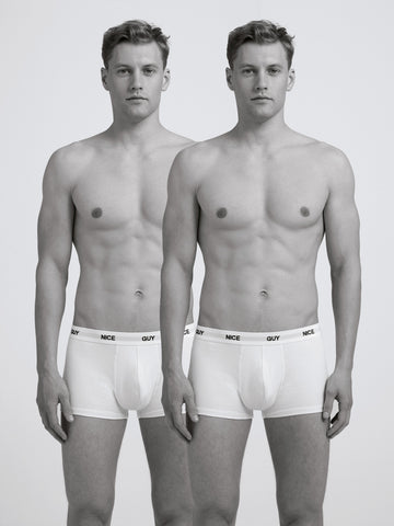Nice Guy Boxer Brief/ Twin Pack/ White