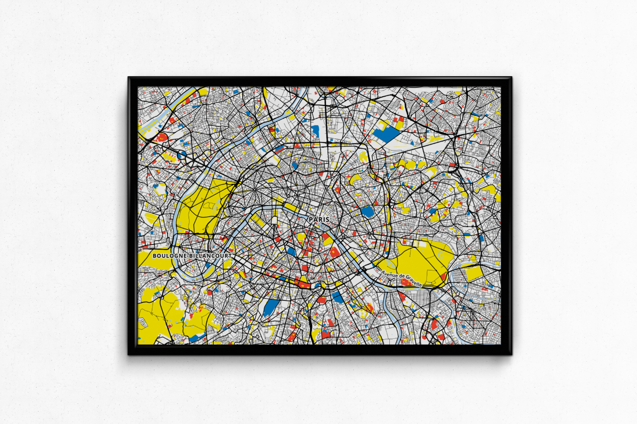 PARIS MONDRIAN ART PRINT MAP DECOR HOME ROOM
