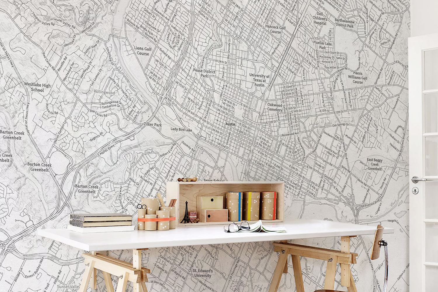 Customaps create your own map map prints for Austin mural wall