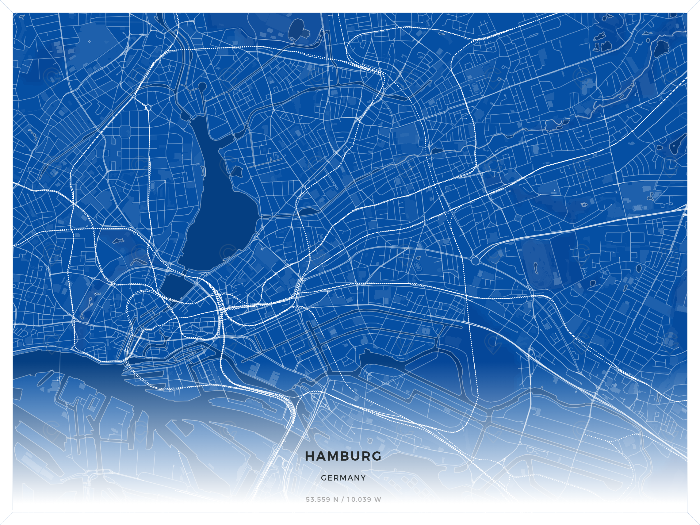 "Digital file: Medium – 24""x18"" - Hamburg - Blueprint - 18x24 - 20200711"