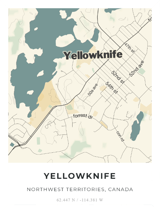 "Printed poster – 24""x18"" - Yellowknife - Retro - 18x24 - 20191120"