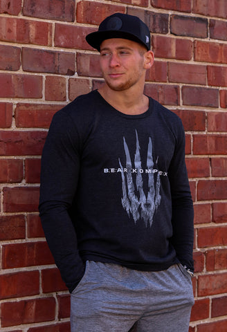 "*LIMITED* Bear KompleX ""Power Animal"" Men's Long Sleeve - Charcoal Black"