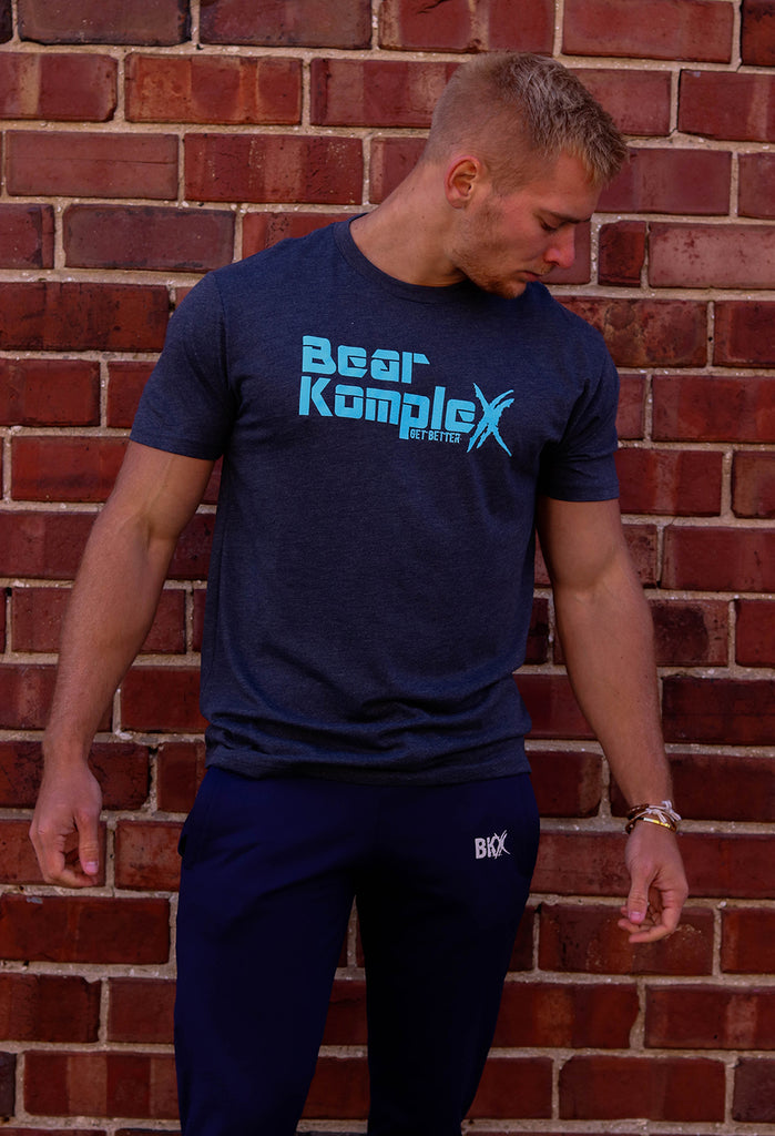 Bear KompleX Men's T-Shirt - Blue / Blue Font