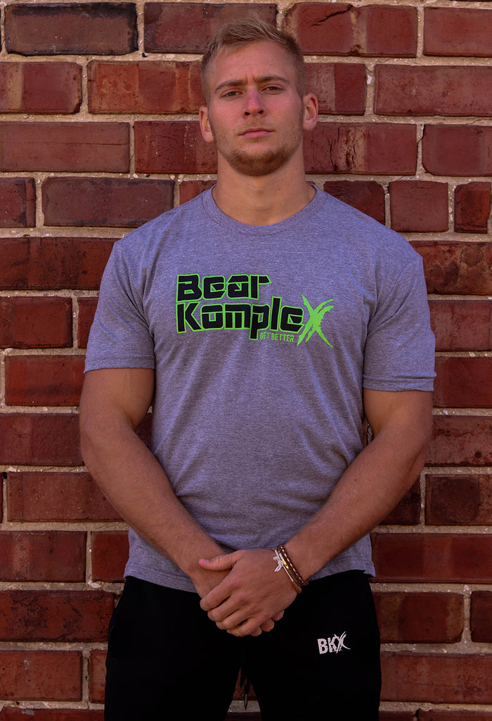 Bear KompleX Men's T-Shirt - Granite Grey / Black and Neon Green Font