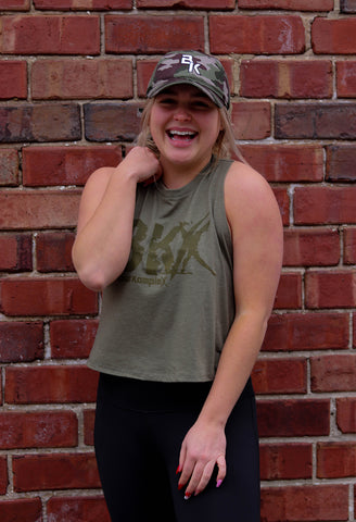 Military Green BKX Racerback Crop