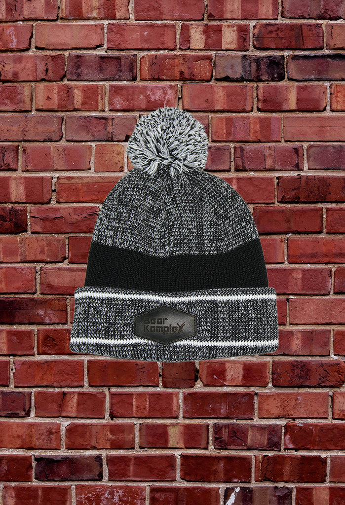 Charcoal Grey/Black BKX Beanie with White Pinstripe