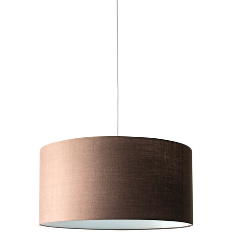 Drum Pendant Lamp Nickel Canopy - Brown - Industrial Lighting Studio