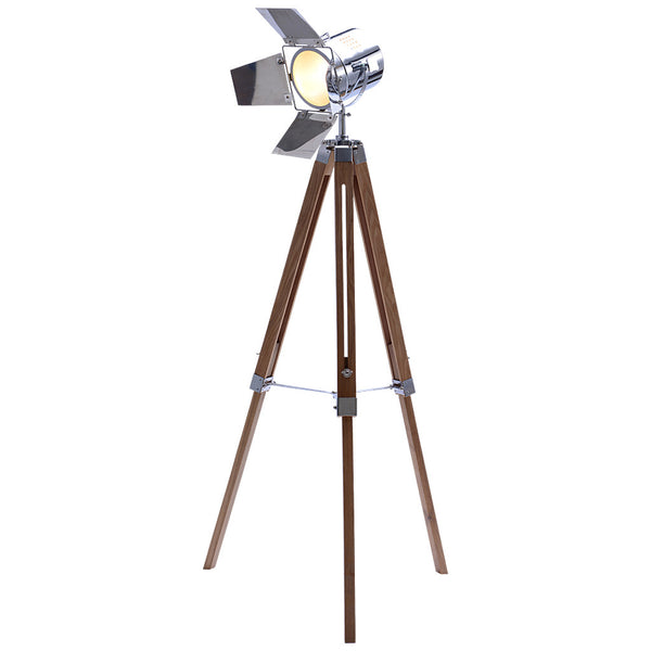 Studio Tripod Floor Lamp - Large - Chrome - Industrial Lighting Studio