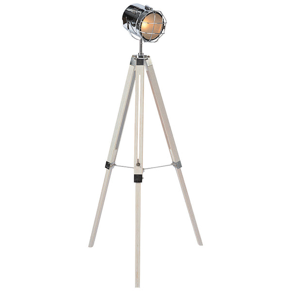 Caged Tripod Floor Lamp - Large - White - Industrial Lighting Studio
