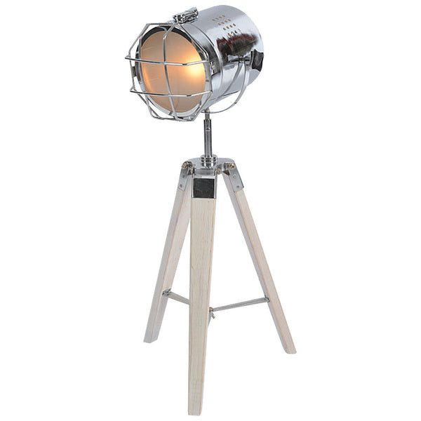 Caged Tripod Table Lamp - Small - White and Chrome - Industrial Lighting Studio